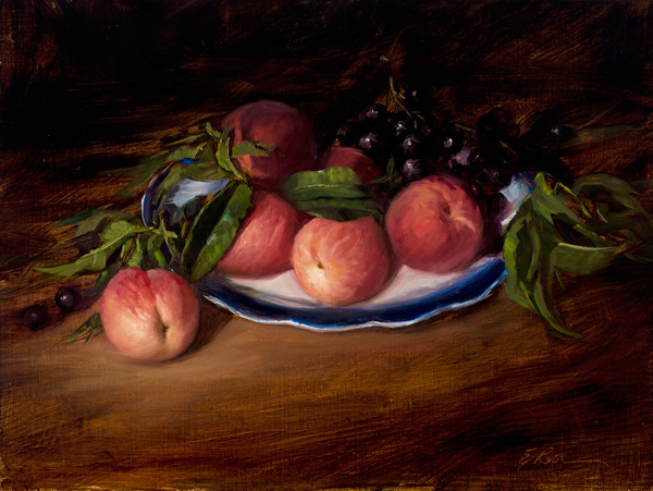 Elizabeth Robbins, Peaches, oil, 11 x 14.