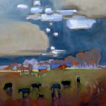 Peggy McGivern, Horses & Cows, oil, 18 x 18.