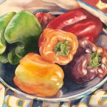 Peppers in a Metal Dish, watercolor, 8 x 10.