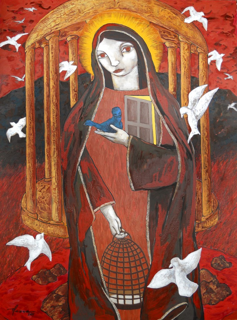 Pablo Perea, Our Lady of the Arrival, mixed media, 40 x 30.