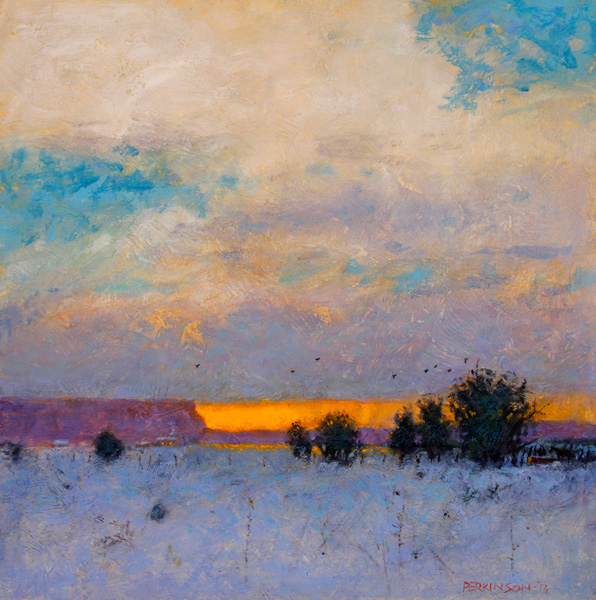 Tom Perkinson, Distant Snowfall, oil, 10 x 10.