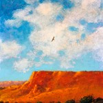Tom Perkinson, Golden Eagle Along the River, oil, 14 x 11.