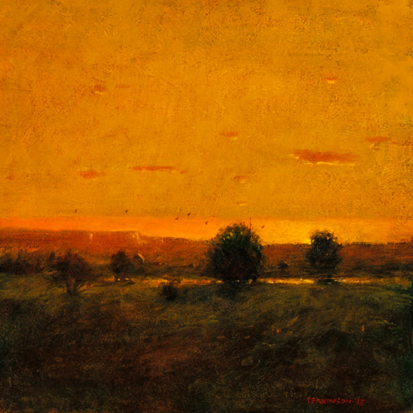 Tom Perkinson, Sunset, Northern New Mexico, oil, 10 x 10.