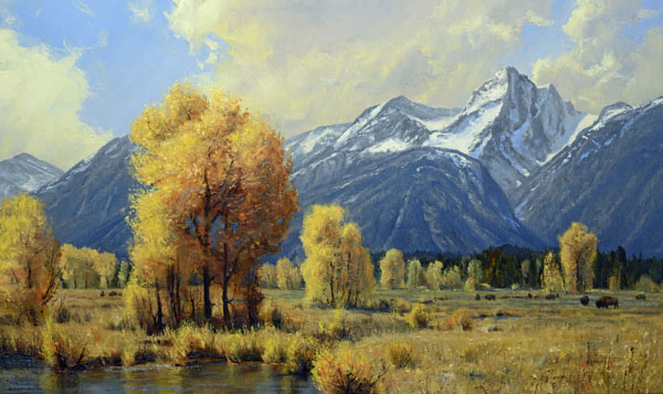 Robert Peters, Autumn in the West, oil, 30 x 50.