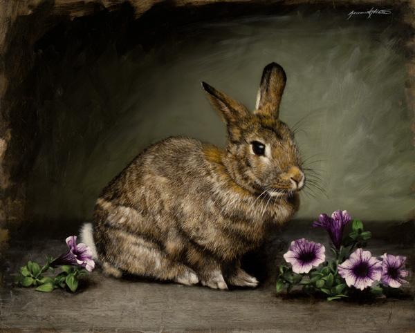 Jeremiah J. White, Petunia, oil, 16 x 20.
