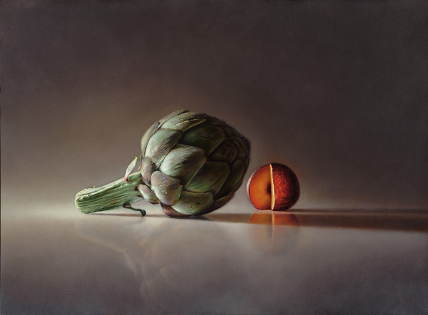 Philip Jackson, Transitory Reflections: Artichoke and Plum, oil, 16 x 18.