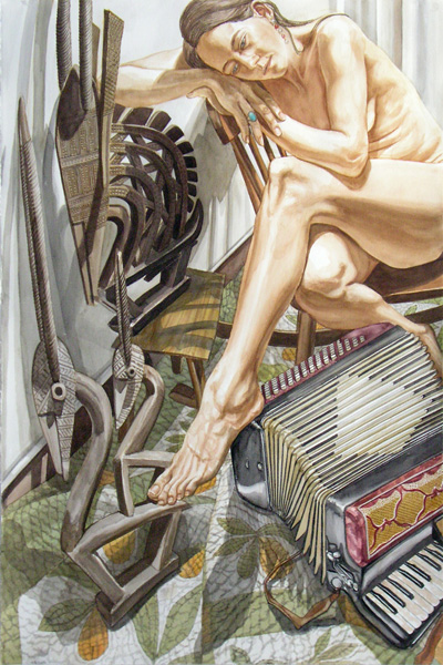 Philip Pearlstein, Swan, Accordion & Mercury, watercolor, 60 x 40.
