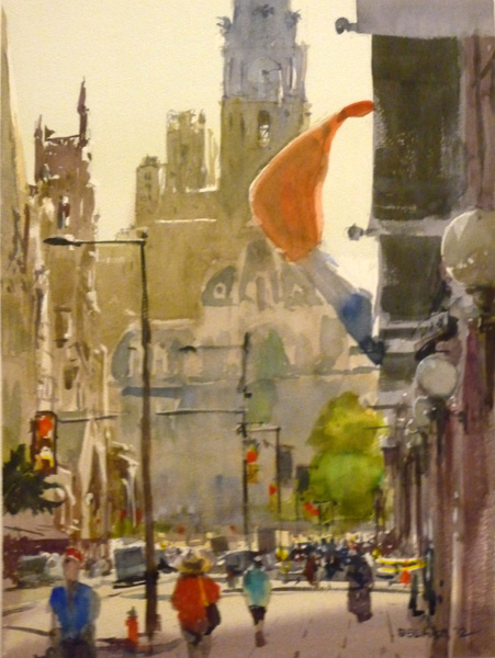 Stewart White, Philly Freedom, watercolor, 16 x 12.