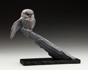 Daniel Glanz, Fearless (Northern Pygmy Owl), bronze, 12 x 15 x 6.