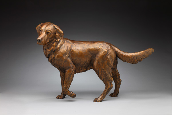 Daniel Glanz, Up and Coming (Golden Retriever), bronze, 30 x 44 x 15.
