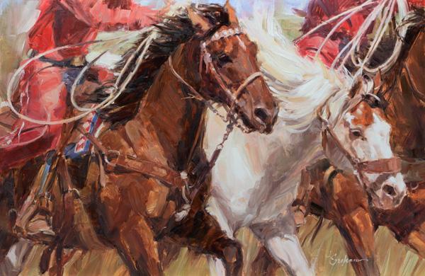 Lindsey Bittner Graham, Pickin' Up the Paint, oil, 16 x 24.
