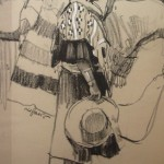 Ned Jacob, Piegan Woman on Horse, charcoal, 25 x 18.