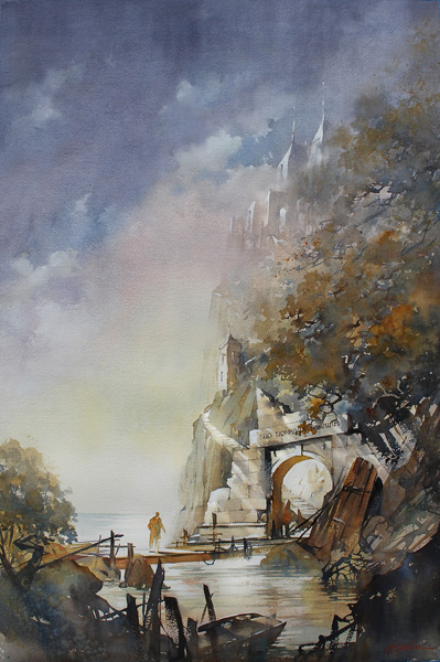Thomas W. Schaller, Pilgrims Progress, watercolor, 40 x 27.