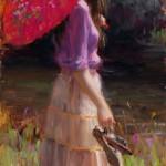 Pink Parasol, oil, 24 x 12.