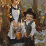 Mike Malm, Pioneer Children, oil, 28 x 15 oil