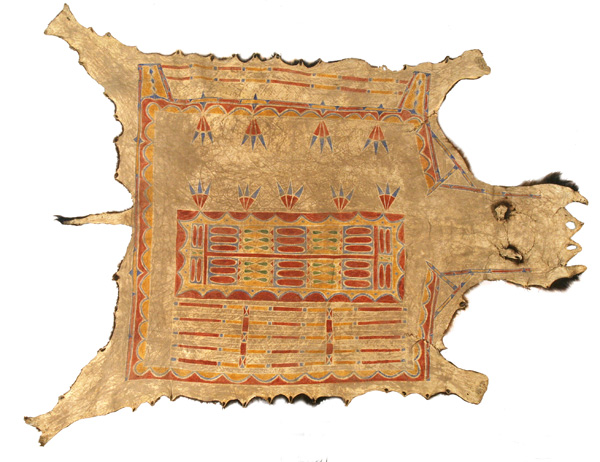 Plains Woman's Painted Buffalo Robe, 85 x 58. Estimate: $20,000-$30,000.