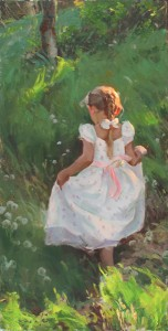 Mike Malm, Playful Wonder, oil, 24 x 12.