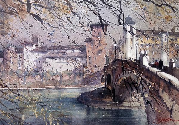 Thomas W. Schaller, Ponte Fabricius, Rome, watercolor, 18 x 24.