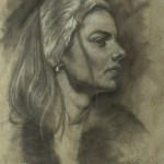 Mervyn Vowles, Portrait Study, charcoal/white chalk, 20 x 15.