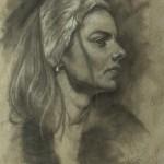 Mervyn Vowles, Portrait Study, charcoal/white chalk, 20 x 15.