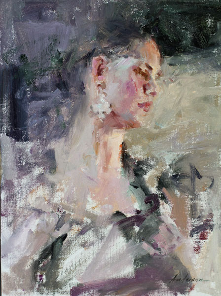 Carolyn Anderson |  Portrait of a Dancer, oil, 14 x 11.