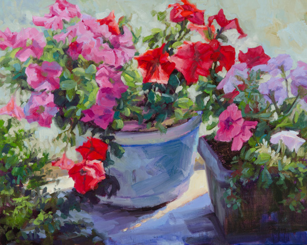 Robert Rohm, Potted Color, oil, 16 x 20.