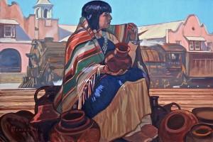 Dennis Ziemienski, Potter at Castenada, oil, 24 x 36.