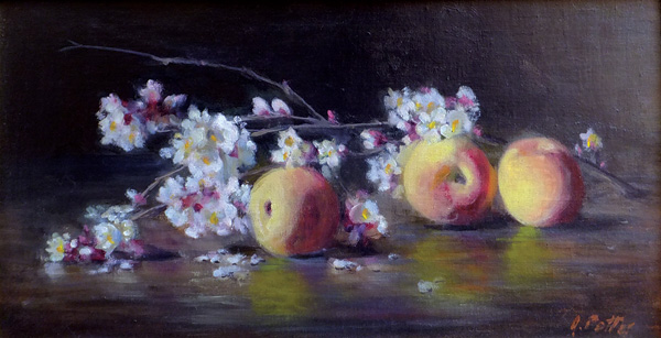 Joan Potter, Apricot Blossoms, oil, 8 x 16.