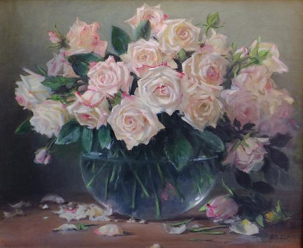 Joan Potter, Roses III, oil, 17 x 20.