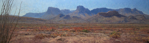 Richard Prather, Ocotillo Flats, oil, 16 x 54.
