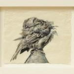 Pete Zaluzec | Preening Sparrow, gampi paper/archival ink, 17 x 14.