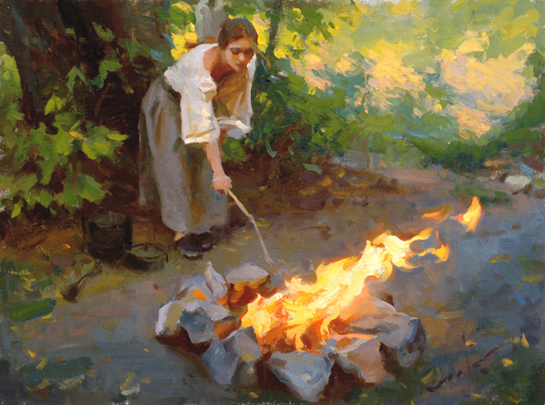 Mike Malm, Preparing the Fire, oil, 12 x 16.