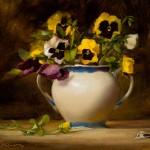 Elizabeth Robbins, Pretty Pansies, oil, 11 x 14.