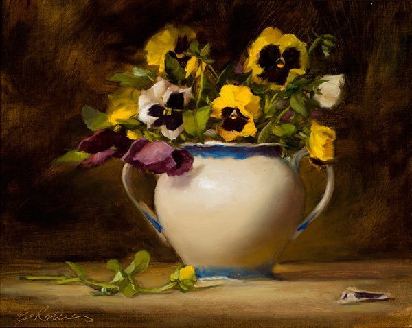 Elizabeth Robbins, Pretty Pansies, oil, 11 x 14.
