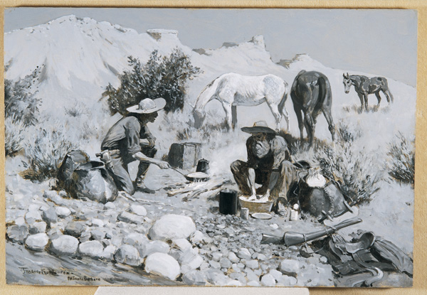 Frederic Remington, Prospectors Making Frying-Pan Bread, ca. 1893-1897, oil, 34 x 47 x 2.