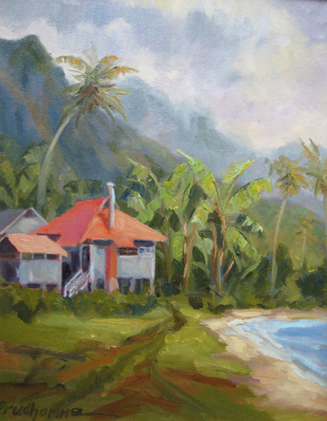 Chuck Prudhomme, Northshore Shower, oil, 20 x 16.