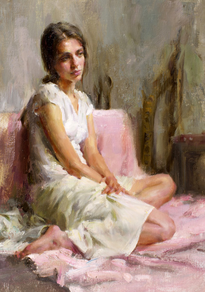 Mary Qian, Day Dreamer, oil, 15 x 11.