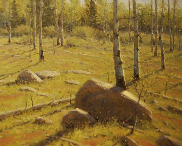 Dan Young, Quakies and Boulders, oil, 24 x 30.