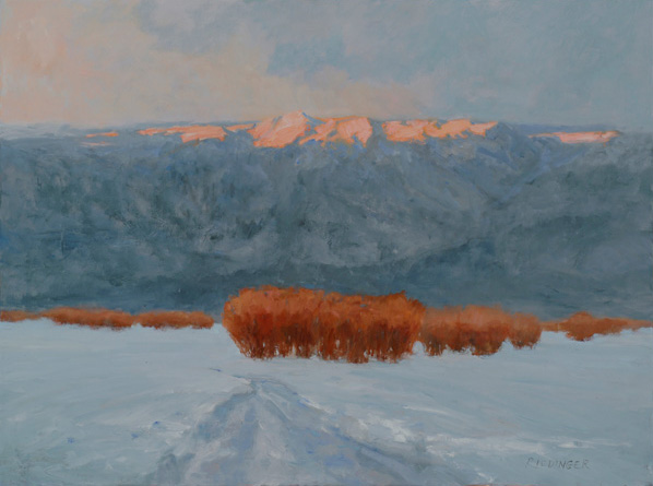 Kathryn Riedinger, Quiet of a Winter Dusk, oil, 30 x 40.