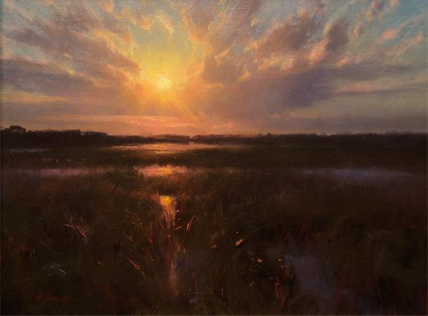 Marc Hanson, Quietly Descending, oil, 18 x 24.