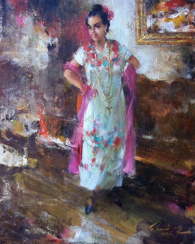 Ramon Kelley, Fiesta Dancer, oil, 16 x 12.