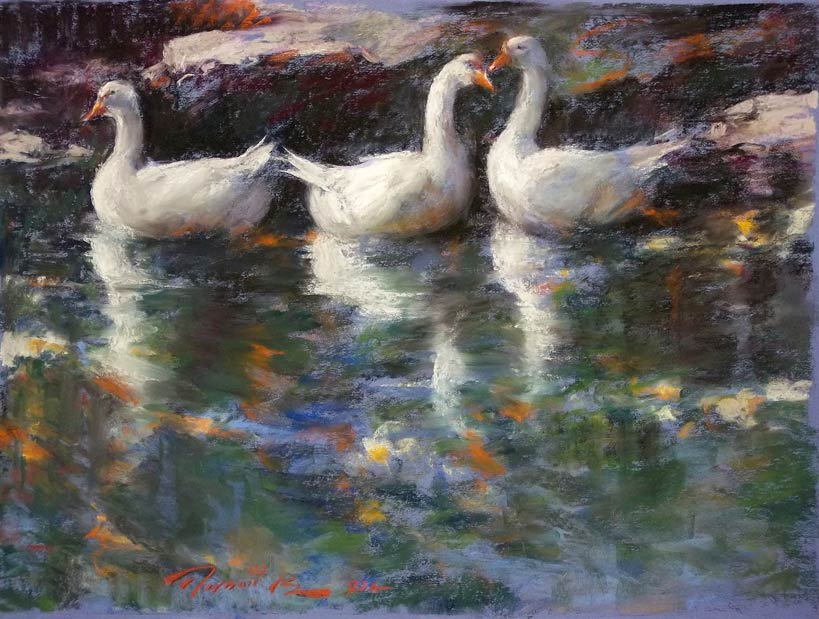Ramon Kelley, Swan Lake, pastel, 19 x 25.