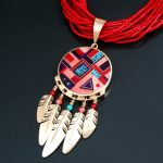 Ray Tracey, 14K Gold 5-Feather Inlaid Shield Pendant, coral, kingman turquoise, sugilite.