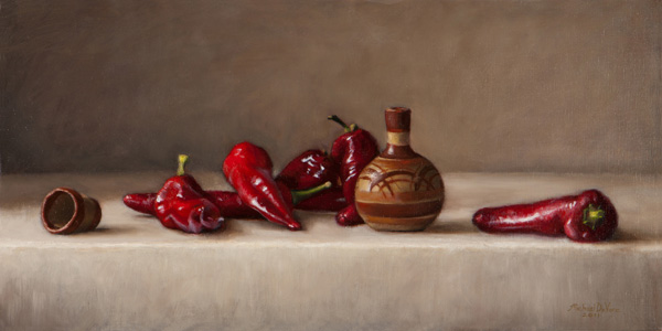 Michael DeVore, Red Peppers, oil, 24 x 12.