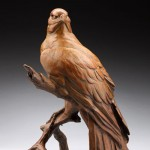 Red-Tailed Hawk Alert, bronze, 20 x 13 x 15.