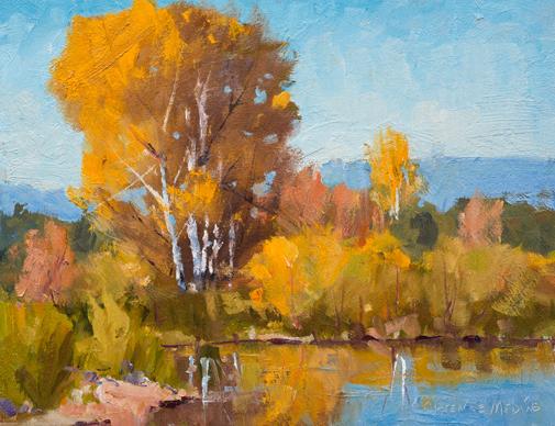 Clarence Medina, Reflection in Rio Lucio, oil, 11 x 14.