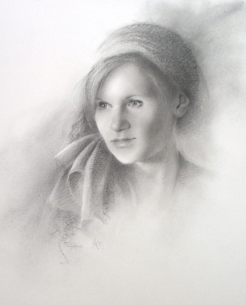 Arin Martin, Reflections, graphite, 15 x 12.