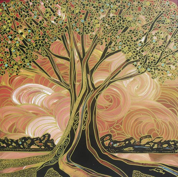 Jami Tobey, Revelry, acrylic, 36 x 36.