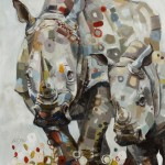 Britt Freda, Rhinos: Black and White, acrylic/graphite 40 x 30. Photo credit: Mike Urban