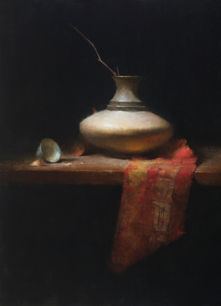 David Riedel, Red Silk, oil, 19 x 26.